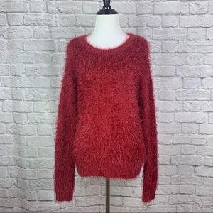 Apt 9 Eyelash Fuzzy Sweater Medium Red